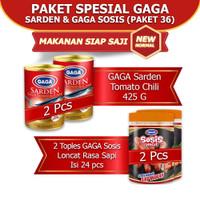 Paket Gaga sarden Tomat Chili 425gr 2 pc& Sosis Rasa Sapi 1 top (GG36)
