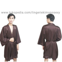 baju jubah tidur pria kimono cowok bahan satin cokelat all size
