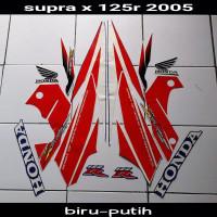 striping sticker lis body supra x 125 r thn 2005 biru putih merah
