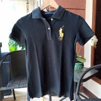 polo shirt wanita hitam preloved ORI 1x digunakan size L slim fit