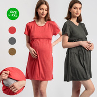 L XL XXL Baju Ibu Hamil dan Menyusui Yura Baju Bumil Dress Busui BS20