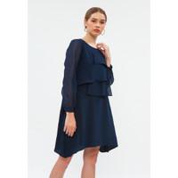 Minimal Mix Fabric Ruffle Dress Purple Blue