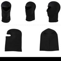 masker full face spandex motor helm Balaclava ninja polos hitam - Hitam