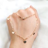 Kalung model paper clip bandul love elegant emas asli