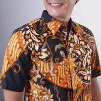 baju kemeja batik pria lengan pendek maza cap tulis modern premium