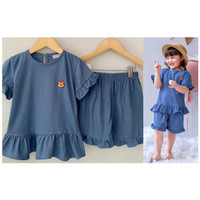 Setelan Anak Kaos Smilee Mamao Warna Biru Size 1-5Tahun - 1tahun