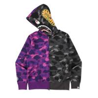 Bape Color Camo Edition Tiger Shark Black Purple Half Fullzip Hoodie