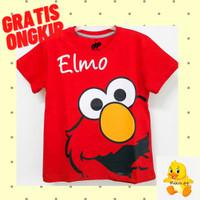 Kaos Baju Anak Lengan Pendek Motif Elmo Red 1 - 10 Tahun