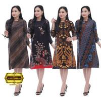 Atasan Baju Wanita Modern / Dress Tunik Batik Spesial Baju Kerja M-XXL - TN SENO BIRU, M