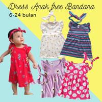 Dress kaos bayi lucu murah free bandana