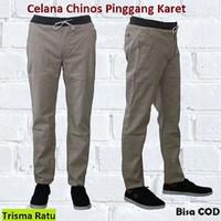 Celana Chino Pinggang Karet Pria / Chino Panjang / Cino Panjang