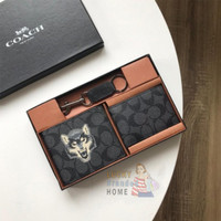Dompet COACH Wallet Billfold Signature Canvas With Wolf Print Original