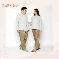 Baju Tidur Couple Set Piyama GREET Kaos Katun Lengan Panjang CP-001