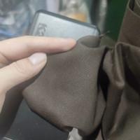 bahan kain drill coklat tua tebal celana twill TR lembut yard gulungan