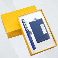 Suvenir Perusahaan (Business Card Holder+Pen) - Biru