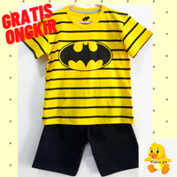 Setelan Baju/ Kaos Anak Laki-Laki Lengan Pendek Motif Batman Salur - 1-2 tahun