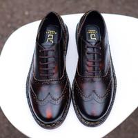 SEPATU KULIT AZCOST FOOTWEAR NEW WINGTIP BURGUNDY ORIGINAL