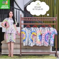 Setelan Kulot Pendek Wanita Tie dye Set Piyama wanita Baju Tidur Murah