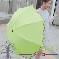 3D Payung Lipat Magic Umbrella Dimensi Lapisan Hitam ANTI UV AJ - Merah Muda