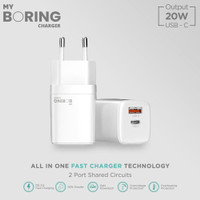 My Boring Dual Port 20W USB Wall Charger 3.0 Type C Fast Charger