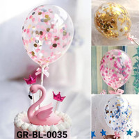 GR-BL-0035 Balon hiasan kue cake topper pink biru hitam emas mix