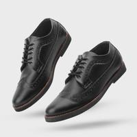 Sepatu Pria Formal Giant Flames Longwing Black Pantofel