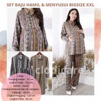 CM Baju Setelan Panjang Hamil Menyusui Big Size Jumbo LD 110 Etnik