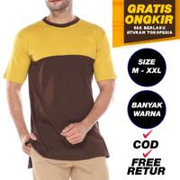 Gamis Kaos Longline Combet 30s Kaos Baju Sholat Panjang Misty | Promo - M, MUSTARD COFFEE