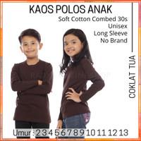 Kaos Polos Anak Lengan Panjang Cotton Combed 30s 2-13 Tahun Coklat Tua