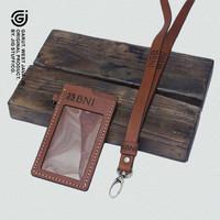 Gantungan ID card holder name tag Kulit sapi asli   COSTUM NAMA & LOGO - TAN VINTAGE