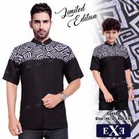Kemeja / Baju Koko Muslim Couple Ayah Anak - Hitam Kombinasi Batik 2
