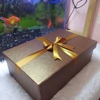 kotak kado besar/gift box/30x19x10cm/brown diamont