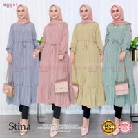 Long Tunik Wanita Motif Garis Model Terbaru STINA Atasan Muslim Wanita