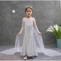 Kostum Gaun Elsa Frozen 2 Biru Putih Baju Rok Pesta Ultah Anak E02 E08