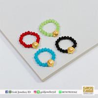 Cincin tali emas hongkong 24k 999 charm mini series tali manik