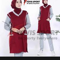 Setelan baju Senam wanita panjang tunik olahraga muslim murah - maroon abu, L