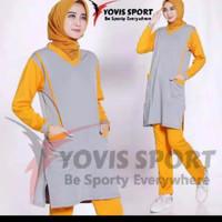 Setelan baju Senam wanita panjang tunik olahraga muslim murah