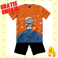 Setelan Baju/Kaos Anak Laki-Laki Lengan Pendek Motif Astronot Moon - 1-2 tahun