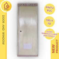 PINTU KAMAR MANDI PVC IVORY 195 X 70 + HANDLE PINTU + KUSEN / PINTU