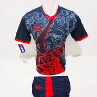 baju volly setelan futsal jersey bola mizuno batik - HITAM MERAH, M