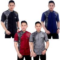 Baju Koko Pria Terbaru Kombinasi Batik Ukel - FASHION NARESWARI - abu abu, M