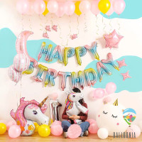 Set Foil Balloon Happy Birthday Unicorn Gradient / Dekorasi Balon