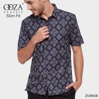 Baju Batik Pekalongan Pria Lengan Pendek Motif Bunga Besar Sogan Asli