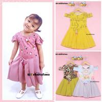 Dress Kanaya uk 1-5 Tahun / Dres Gaun Anak Perempuan Motif