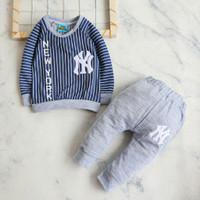 Baseball NY Garis Panjang / Setelan Baju Bayi laki 6 bln - 2,5 tahun - Navy, 1