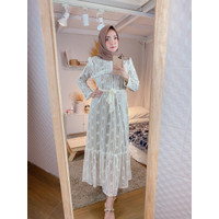 Baju Gamis Wanita Maxi Dress Muslimah Brokat Terbaru Nura Hitam-Putih