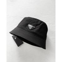 Prada Bucket Hat Triangle Logo Black