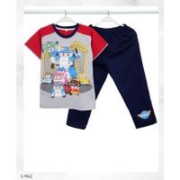 Baju Tidur Setelan Pendek Panjang Robocar Poli L-962 /PP size 14-16-18 - Size 18