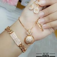 set perhiasan xuping lapis emas 24k wanita dewasa oval kwalitas keren