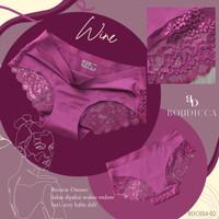 Celana Dalam Renda Lace Seamless Wanita Tanpa Jahitan Anti Nyeplak - Wine, M